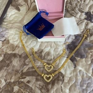 Heart pendant jewelry set(Necklace and bracelet)